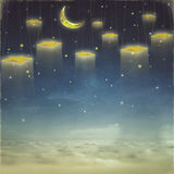 Fantastic moon and stars on rope  at night sky Royalty Free Stock Photography