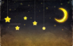 Fantastic moon and stars Royalty Free Stock Image