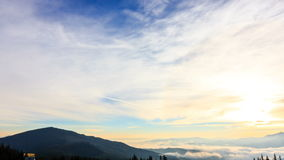 Fantastic mountain landscape with colorful cloud. Carpathian, Ukraine, Europe. stock video footage