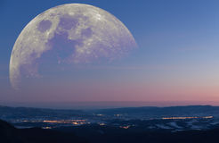 Fantastic mountain landscape moon Royalty Free Stock Photography