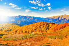 Fantastic mountain tops at autumn evening time. Stock Images