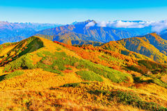 Fantastic mountain tops at autumn evening time. Stock Photography