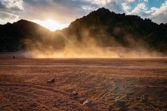 Fantastic mountains with quad trip. Egyptian desert Royalty Free Stock Photo
