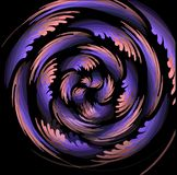 Fantastic mysterious object composed from swirling pixelated wings in pink and purple color on black background Royalty Free Stock Photos