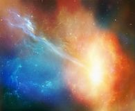 Fantastic nebula. Photomanipulation of a coloured nebula in the galaxy stock photo