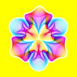 Fantastic neon flower, abstract shape with lots of blending lines. Fantastic neon flower icon, abstract shape with lots of blending lines and gradient color Stock Illustration