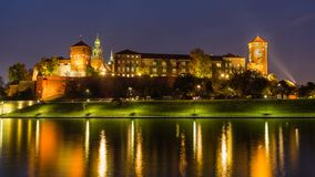 Fantastic night Cracow, Wawel Castle in Poland royalty free stock images
