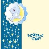 BEDTIME STORY. Polar bear cub, a young moon and starry sky. Fantastic night. Design for children`s textiles, banners, posters, emblems for packaging materials Stock Images