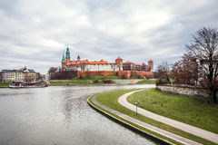 Fantastic night Krakow. The Royal Wawel Castle in Poland Royalty Free Stock Photos