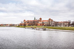 Fantastic night Krakow. The Royal Wawel Castle in Poland Royalty Free Stock Images