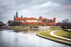 Fantastic night Krakow. The Royal Wawel Castle in Poland Stock Image