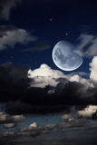 Fantastic night landscape with the big moon Stock Images