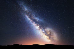Fantastic night landscape with bright milky way Royalty Free Stock Photos