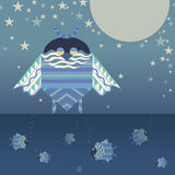 Fantastic night ornament owl and fishes. Illustration of fantastic night ornament owl and fishes Stock Photography
