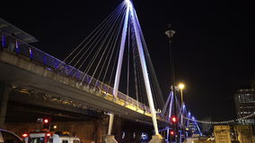 Fantastic night shot of the Golden Jubilee Bridge in London stock video footage