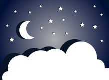 Fantastic night sky with moon, stars and clouds. Vector cloudscape. Royalty Free Stock Photography
