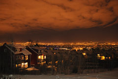 Fantastic night sky over Oslo Royalty Free Stock Photography
