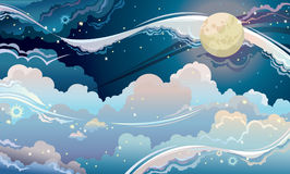 Fantastic night sky. Night starry sky with full moon. Fantastic  cloudscape Stock Images