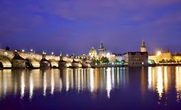 Fantastic night view of the Charles Bridge in Prague, Czech Repu Stock Image