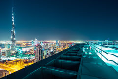 Fantastic nighttime Dubai skyline with illuminated skyscrapers Royalty Free Stock Photography
