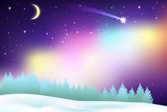 Fantastic Northern Lights over the pine forest and winter field. royalty free illustration