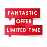 Fantastic offer limited time label red vector Royalty Free Stock Photo