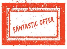 FANTASTIC OFFER on orange square frame rubber stamp with grunge texture Stock Photography