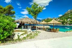 Fantastic outdoor tropical beach bar, Brela, Dalmatia, Croatia, Europe Royalty Free Stock Photo