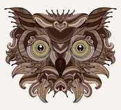 Fantastic Owl. Serious bird is looking at you. Fancy owl head illustration. White background Royalty Free Stock Photos