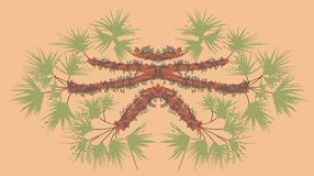 Fantastic palmetto orange, oniric landscape Royalty Free Stock Photos