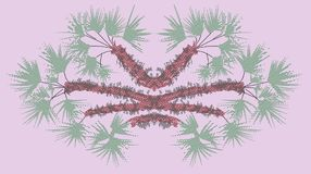 Fantastic palmetto pink, oniric landscape Stock Photo
