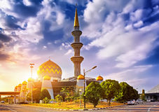 Fantastic panorama of the sunset over the mosque in Istanbul, Tu Stock Photography