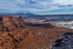 Fantastic panoramic view of Dead Horse Point State Park in the winter with snow in Utah royalty free stock photography