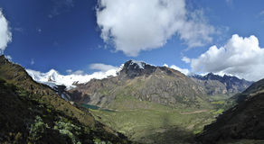 Fantastic panoramic view into two valley's. Rewarded while hiking the Cojup trail in the Cordillera Blanca, Huaraz, Peru stock images