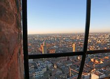 Fantastic panoramic views of the city of Bologna from the  windo Royalty Free Stock Images
