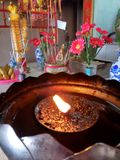 Lit Candle Hua Hin Thailand Buddhist Temple Royalty Free Stock Images