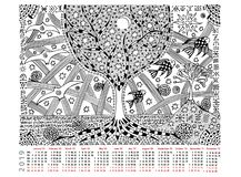 Fantastic picture with calendar 2019. The tree of life, day and night, hieroglyphs. Black and white graphics. Fantastic picture with calendar 2019. Black and stock illustration