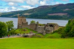 The ruins of Urquhart Castle on the shores of Loch Ness in Scotland royalty free stock image