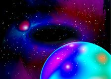 Fantastic planet in deep space. Star field in space and a nebulae. Abstract background of universe and a gas congestion. Galaxy Stock Photos