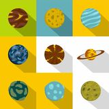 Fantastic planet icon set, flat style. Fantastic planet icon set. Flat style set of 9 fantastic planet vector icons for web design Stock Photo