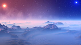 Fantastic planet and UFO. Ghost mountain landscape covered with white fog. Tops of low mountains covered with snow. In the dark night sky bright stars and pale stock footage