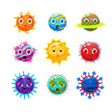 Fantastic planets with faces and emotions. Objects can be used for computer games Stock Photo