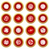 Fantastic planets icon red circle set Royalty Free Stock Photos