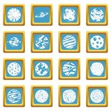 Fantastic planets icons azure Royalty Free Stock Photos