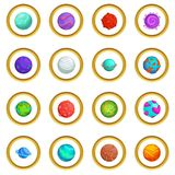 Fantastic planets icons circle Royalty Free Stock Images