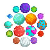 Fantastic planets icons set, cartoon style. Fantastic planets icons set. Cartoon illustration of 16 fantastic planets vector icons for web vector illustration
