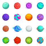 Fantastic planets icons set, cartoon style Stock Photos