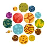 Fantastic planets icons set in flat style. Isolated vector illustration Stock Image