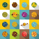 Fantastic planets icons set, flat style Stock Photos