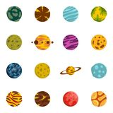 Fantastic planets icons set in flat style. Isolated vector illustration Royalty Free Stock Photo